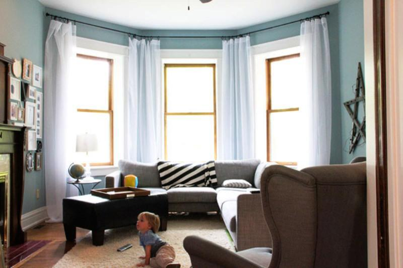 Image of: IKEA Curtain Rods Bay Windows