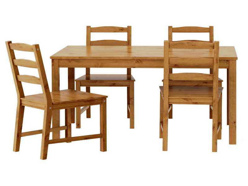 Wood IKEA Kitchen Chairs Table Dinner Set