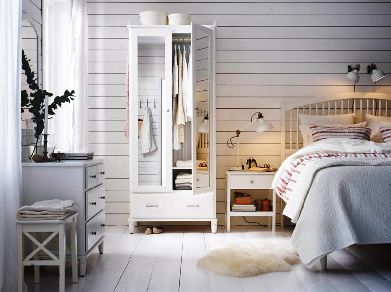 IKEA White Bedroom Furniture Storage Designs
