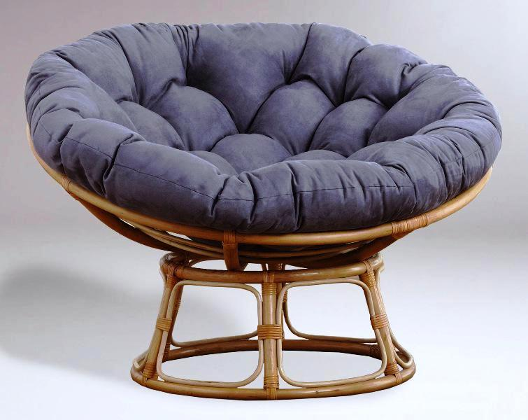 Papasan Chair IKEA Wicker Base With Grey Cushion