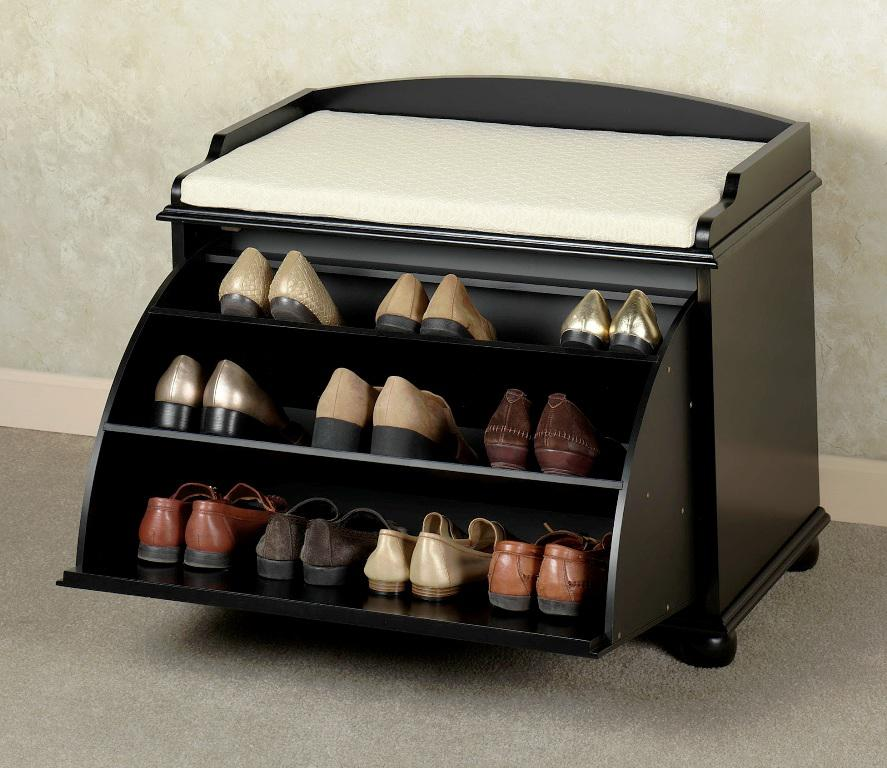 Black Tilt Out Bench With Shoe Storage IKEA