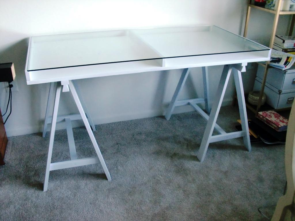Image of: IKEA Glass Desk Top