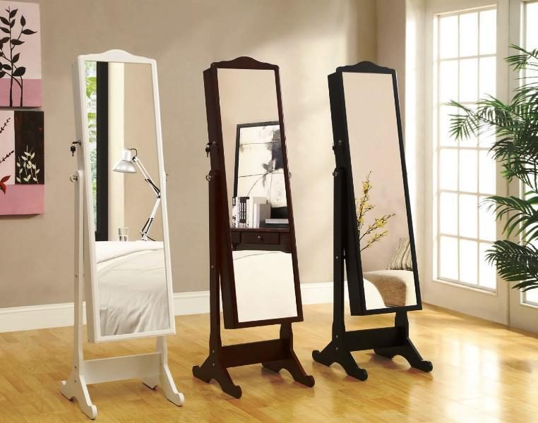 Standing Mirror With Wall Drop