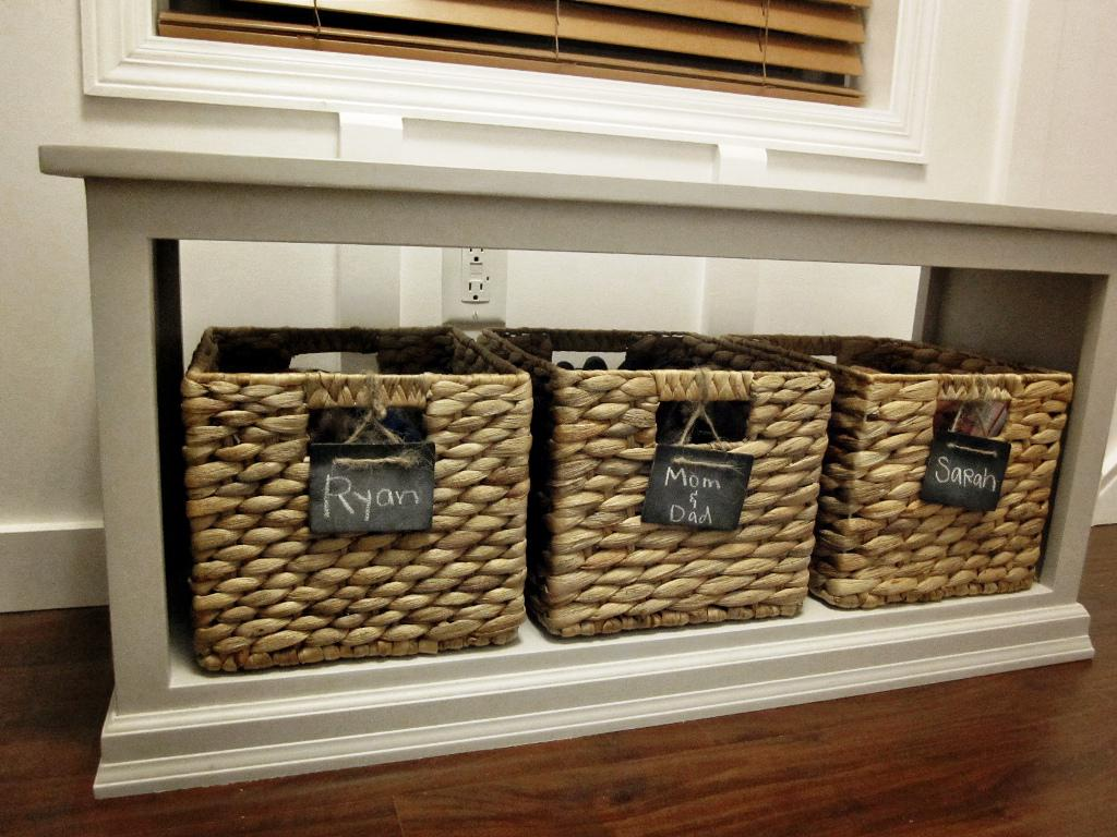 White IKEA Storage Bench With Baskets Underneath