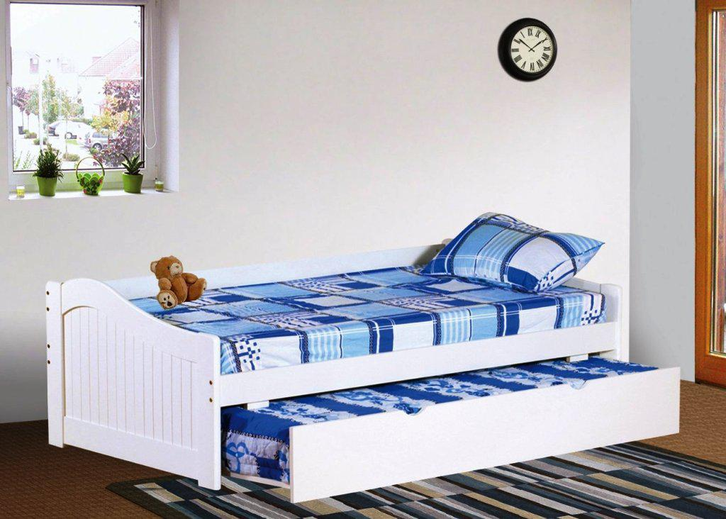 Contemporary Wood White IKEA Bed With Trundle