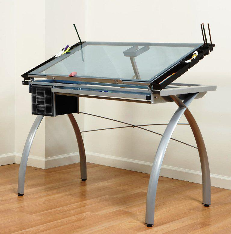 Image of: Glass Drafting Table IKEA
