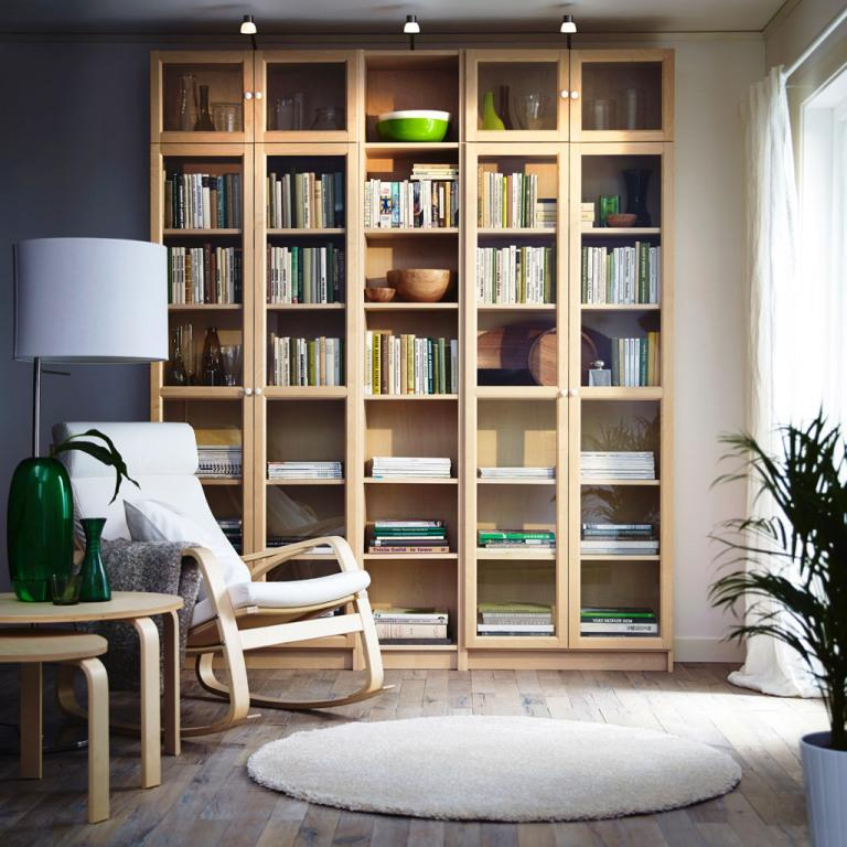 Image of: IKEA Bookshelves With Doors