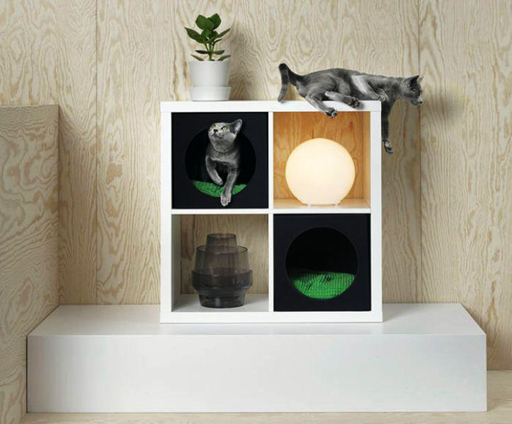 IKEA Pet Furniture Cat House On KALLAX Shelf