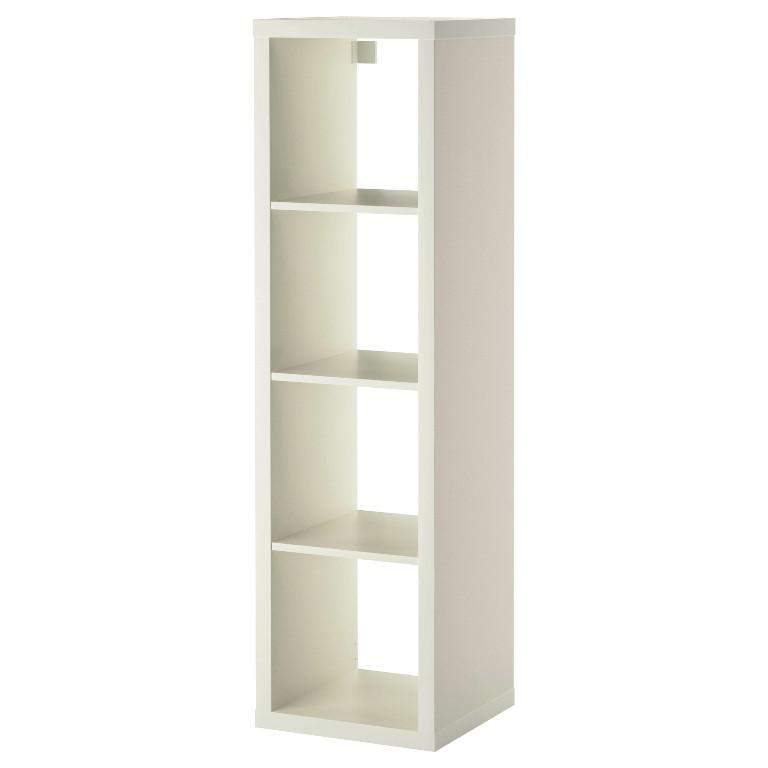 Freestanding Tall White IKEA Expedit Shelving Unit For Sale