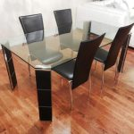 IKEA Dining Room Sets Tempered Glass Top Table