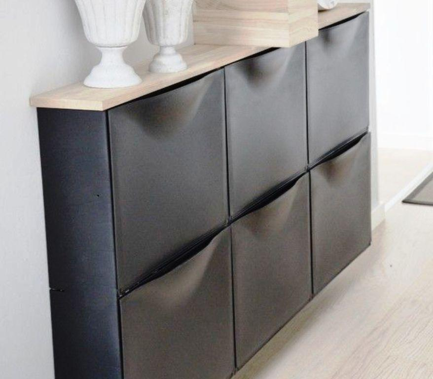 IKEA Trones Black Wall Mounted Shoe Storage Ideas