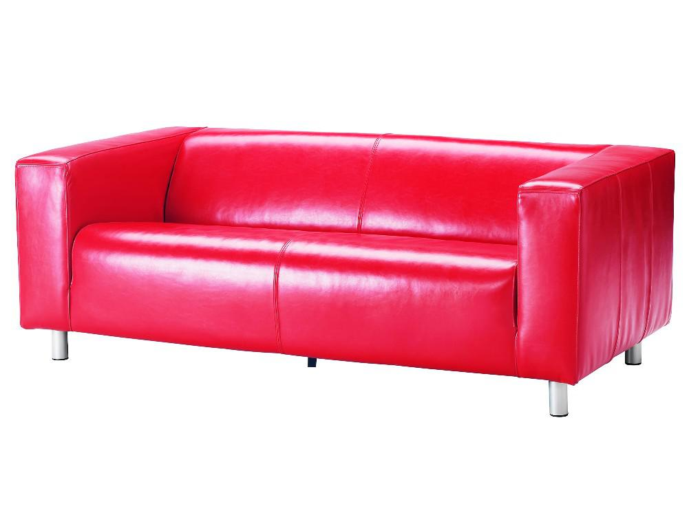 IKEA Red Leather Sofa