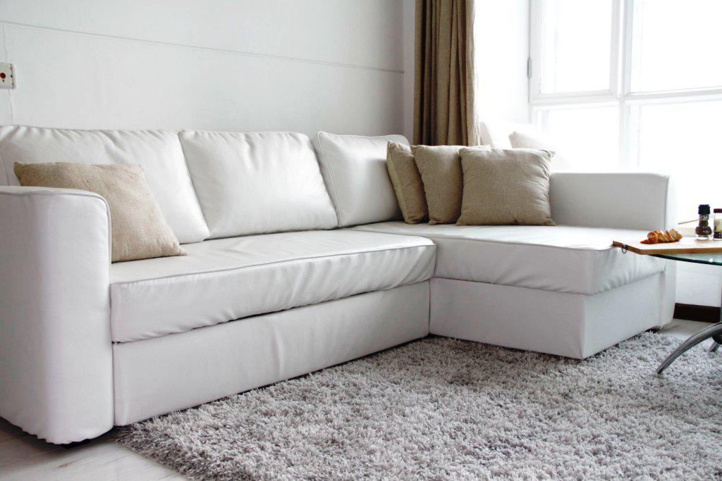 IKEA White Leather Sofa